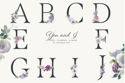 Watercolor Floral Alphabet Embellished Letters Numbers Separate Bouque