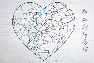 Rome road map svg, eps, dxf, png, jpg, Heart shaped map, Cut file