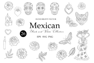 Mexican Hand Drawn Clipart. Floral Leaves Flowers. Day of the dead