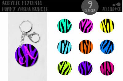 Acrylic Keychain Funky Zebra Bundle