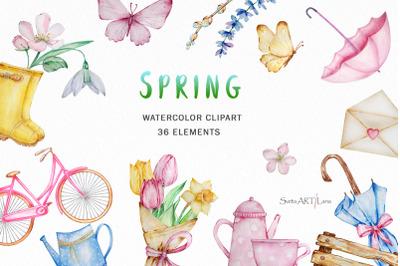 Watercolor Spring Clipart, Seasonal Download