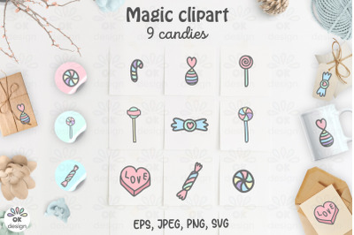 Candy clipart. Baby shower clipart. Magic clipart. 9 hand drawn design