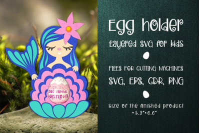 Mermaid with seashell - Chocolate Egg Holder template SVG