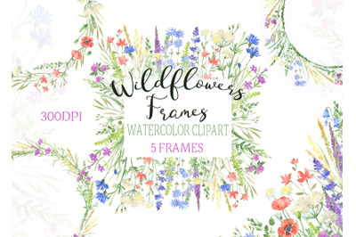 Watercolor Wildflowers frames clipart botanical floral wreath flowers