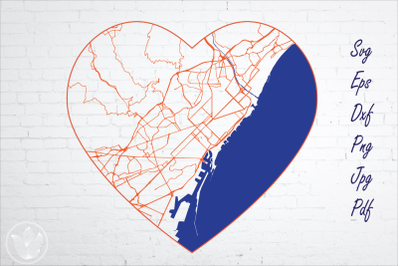 Barcelona road map svg, eps, dxf, png, jpg, Heart shaped map, Cut file