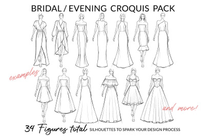 Bridal/Evening Croquis Pack for Fashion Illustration and Fashion Desig