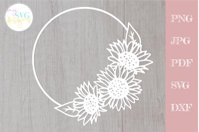 Sunflower svg, Floral wreath svg, sunflower cut file