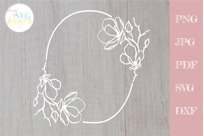 Floral wreath svg, Magnolia svg, floral frame svg