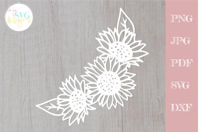 Sunflower svg, Floral wreath svg, flower border svg