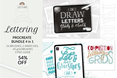 Procreate lettering bundle. Grid builder Procreate, letter builder Pro