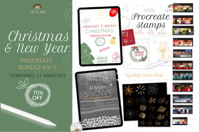 Christmas Procreate stamps bundle. New Year Procreate brushes