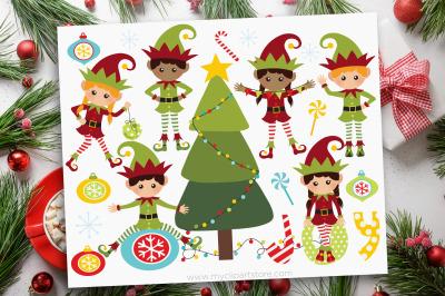 Santa's Christmas Elves Vector Clipart