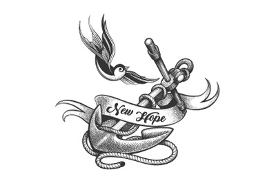 Swallow and Ship Anchor Tattoo in Engraving Style