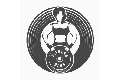 Fitness Emblem with Woman Holding Barbell Weight