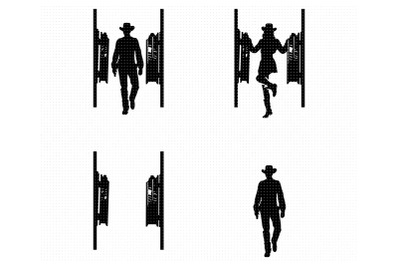 cowboy and cowgirl entering a saloon SVG and PNG clipart