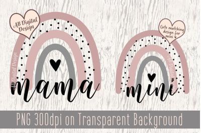 Mama Mini Rainbow PNG, Mom, Sublimation, Mommy & Mini Me