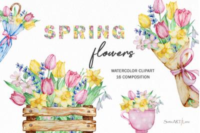 Watercolor Spring flowers, Bouquet flowers