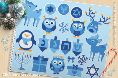 Hanukkah Animal Stickers Vector Clipart