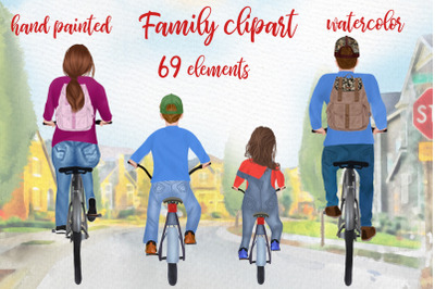 Bicycle clipart Family riding bicycles Family illustrations