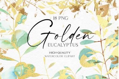 Eucalyptus clipart watercolor, Golden greenery eucalyptus leaves gold