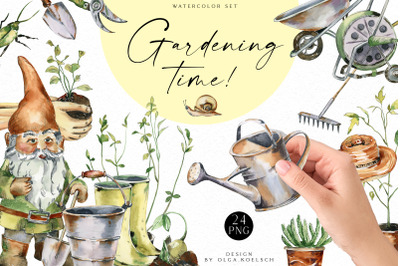Watercolor gardening clipart, Hand-painted garden icons, farmhouse png