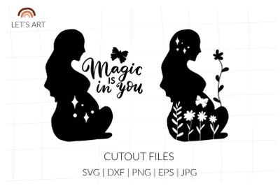 Pregnancy woman svg, pregnant silhouette, maternity svg, pregnant svg