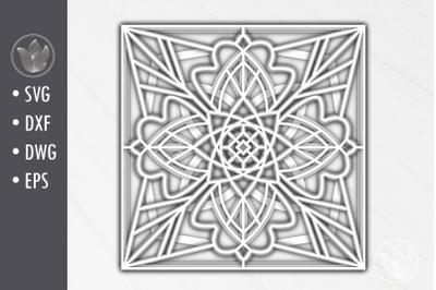 3d svg dxf Multi-layer mandala, paper cut, shadow box