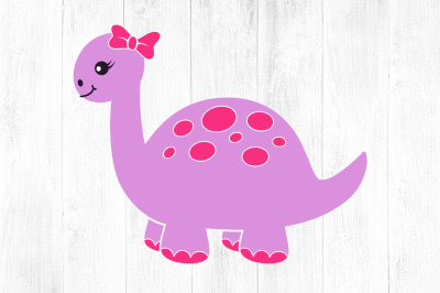 Dinosaur SVG, Cute Girl Dinosaur with Bow Graphic