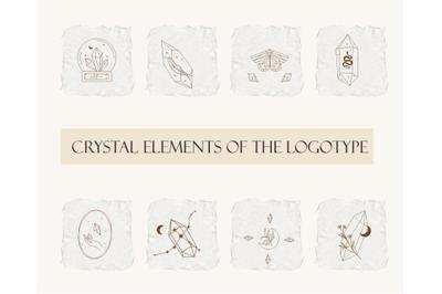 Logo elements, crystal logos, mystical logo, logo line art