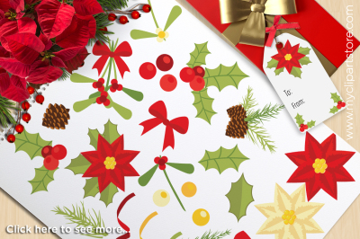 Christmas Flowers - Holly and Mistletoe Vector Clipart