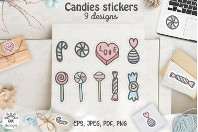 Candies Stickers. Printable 9 sweet designs. PNG, JPEG, PDF files.