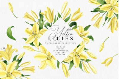 Yellow Lilies Watercolor Collection