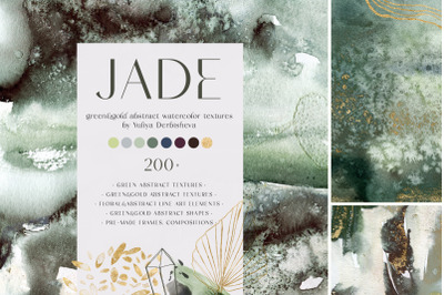JADE. Green & gold abstract watercolor textures