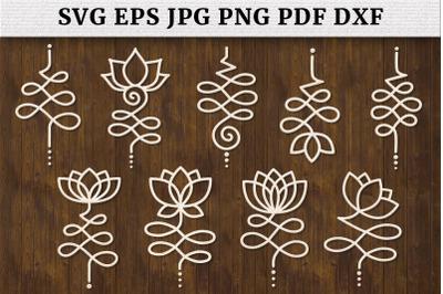 Unalome Bundle Lotus Flower SVG Cut Files