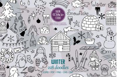 Winter Season Doodles | Hand Drawn Mittens, Igloo, Snowman, Penguin