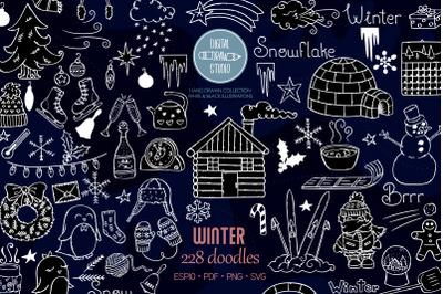 Winter Season White Doodles | Mittens, Igloo, Snowman, Penguin, Sport