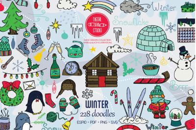 Winter Season Color Doodles | Mittens, Igloo, Snowman, Penguin, Sport