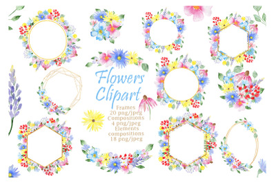 Watercolor Flowers Frames clipart. Floral set.