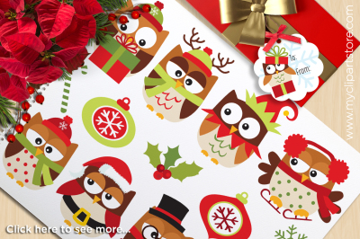 Christmas Owls (Brown) Vector Clipart