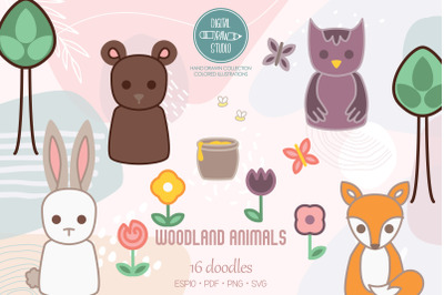Woodland Animals | Colored Forest Critters, Fox, Bear, Owl, Bunny