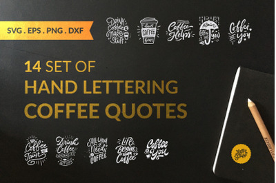 14 SVG Handlettering Coffee Quote