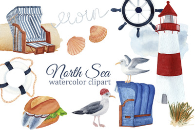 Nautical watercolor clipart, North Sea clipart, Europe travel, lightho