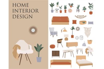 Bohemian Decor Illustrations, interior design, furniture clipart, livi