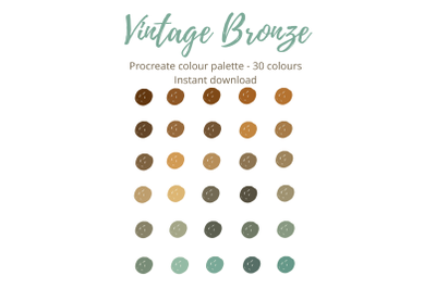 Procreate Vintage Bronze Colour Palette/Swatch