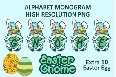 Gnome Easter Monogram PNG