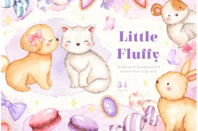 Little Fluffy Watercolor Clip Arts