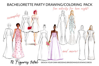 Bachelorette Party Hen Night Drawing/ Coloring Pack