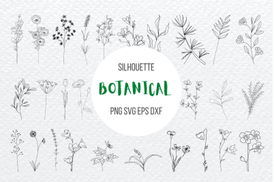 Botanical Flowers Silhouette Bundle
