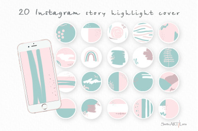 Instagram Green Pink Story Highlight covers