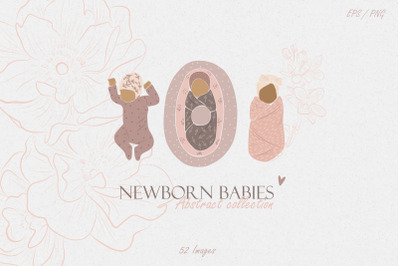 Newborn children. Abstract collection in the style of minimalism